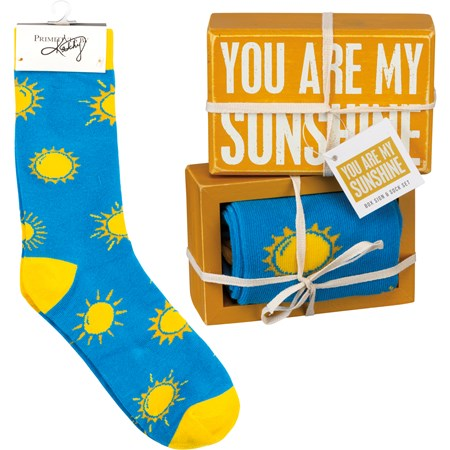 "Box Sign & Sock Set - You Are My Sunshine - Box Sign: 4.50"" x 3"" x 1.75"", Socks: One Size Fits Most - Wood, Cotton, Nylon, Spandex, Ribbon"