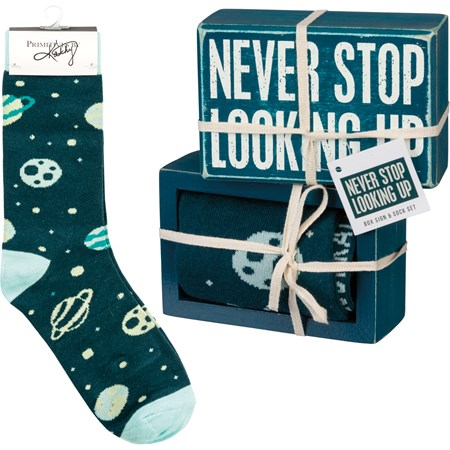"Box Sign & Sock Set - Never Stop Looking Up - Box Sign: 4.50"" x 3"" x 1.75"", Socks: One Size Fits Most - Wood, Cotton, Nylon, Spandex, Ribbon"
