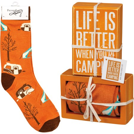 "Box Sign & Sock Set - Life Is Better Camping - Box Sign: 3"" x 4.50"" x 1.75"", Socks: One Size Fits Most - Wood, Cotton, Nylon, Spandex, Ribbon"