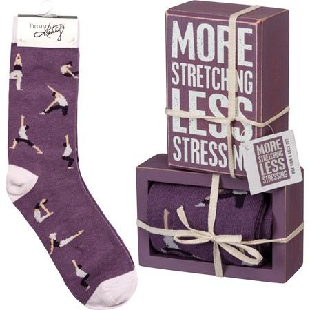 "Box Sign & Sock Set - More Stretching - Box Sign: 3"" x 4.50"" x 1.75"", Socks: One Size Fits Most - Wood, Cotton, Nylon, Spandex, Ribbon"