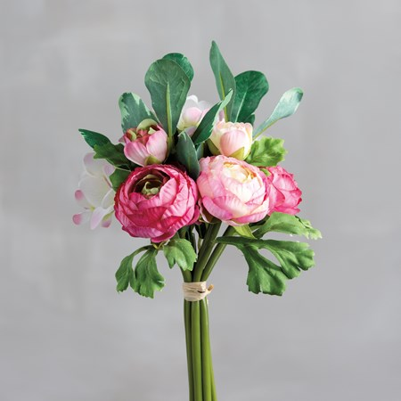 "Bouquet - Pink Ranunculus - 10"" Tall - Plastic, Fabric, Wire"