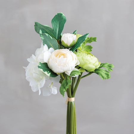 "Bouquet - Cream Ranunculus - 10"" Tall - Plastic, Fabric, Wire"