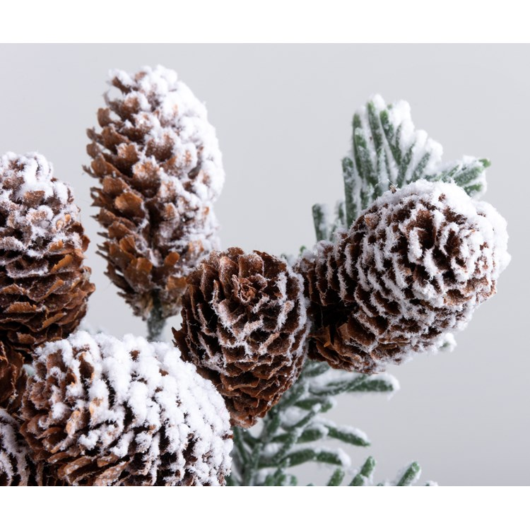 "Pick - Pine & Pinecones - 17.50"" Tall - Plastic, Pinecones, Flocking"