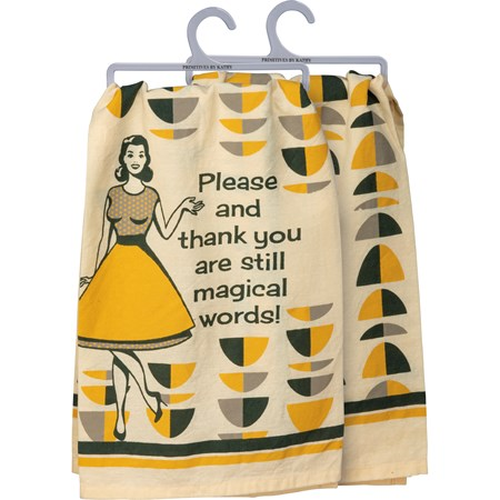 "Dish Towel - Please Thank You Magical Words - 28"" x 28"" - Cotton"