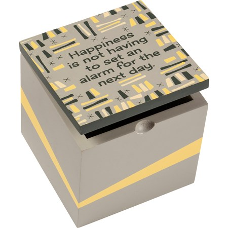 "Hinged Box - Happiness Is Not Setting An Alarm - 4"" x 4"" x 4"" - Wood, Metal"