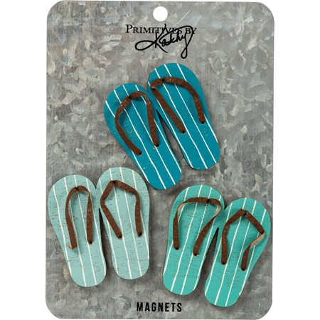 "Magnet Set - Flip Flops - 2.25"" x 2.50"", Card: 5"" x 7"" - Wood, Metal, Magnet"
