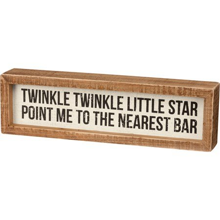 "Inset Box Sign - Point Me To The Nearest Bar - 10.50"" x 3"" x 1.75"" - Wood"