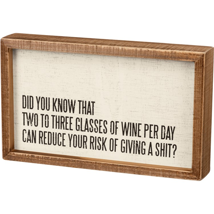 "Inset Box Sign - Wine Can Reduce Your Risk - 10"" x 6"" x 1.75"" - Wood"