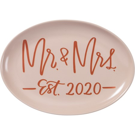 "Platter - Mr. & Mrs. Est. 2020 - 13.75"" x 10"" - Stoneware"