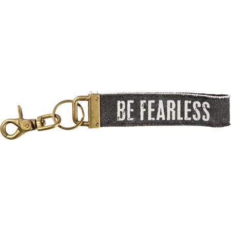 "Keychain - Be Fearless - 8.75"" x 1.50"" - Canvas, Metal"