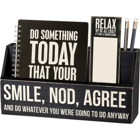 "Desk Organizer - Do Whatever You Were Going To Do - 12"" x 3.25"" x 6"" - Wood"