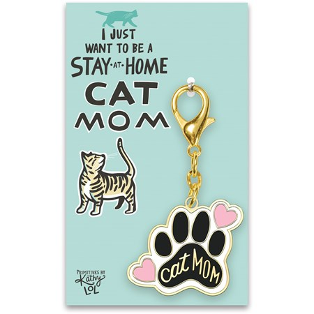 "Keychain - Stay At Home Cat Mom - 1.75"" x 3"", Card: 3"" x 5"" - Metal, Enamel, Paper"