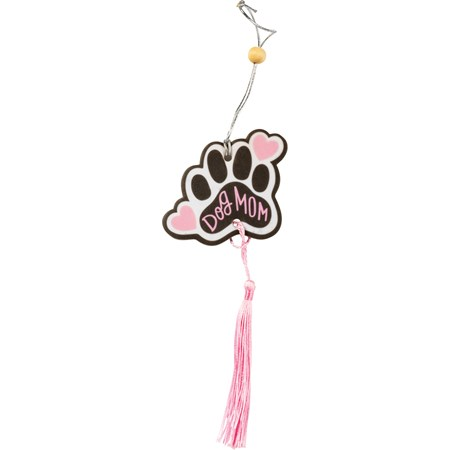 "Air Freshener - Dog Mom - 2.75"" x 5"", Card: 3"" x 6.25"" - Paper, String, Wood"