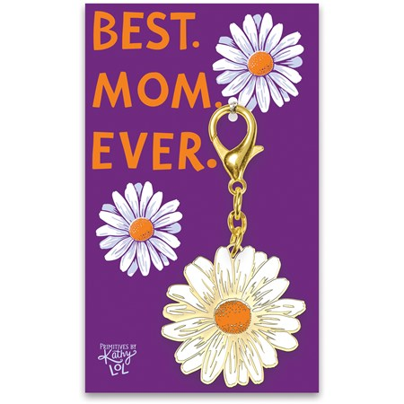 "Keychain - Best Mom Ever - 1.75"" x  3.25"", Card: 3"" x 5"" - Metal, Enamel, Paper"