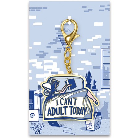 "Keychain - I Can't Adult Today - 2"" x 3.25"", Card: 3"" x 5"" - Metal, Enamel, Paper"