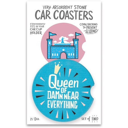 "Car Coasters - Queen Of Everything - 2.50"" Diameter x 0.25"" - Stone, Cork"