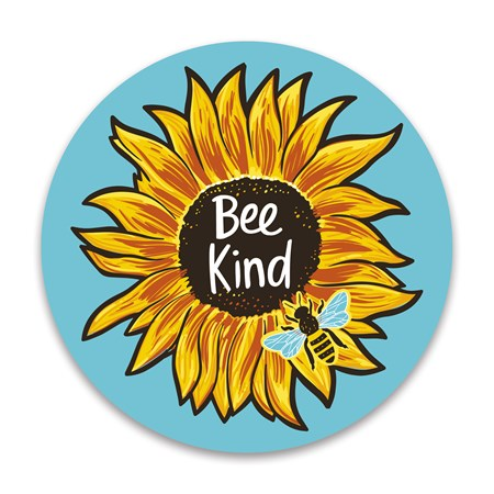 "Car Magnet - Bee Kind - 5"" Diameter - Magnet"