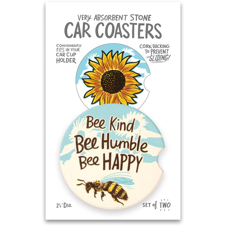 "Car Coasters - Bee Kind Bee Humble Bee Happy - 2.50"" Diameter x 0.25"" - Stone, Cork"