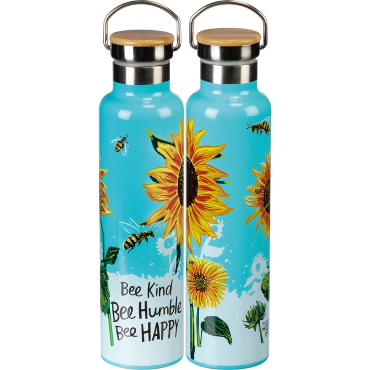 "Insulated Bottle - Bee Kind - 25 oz., 2.75"" Diameter x 11.25"" - Stainless Steel, Bamboo"