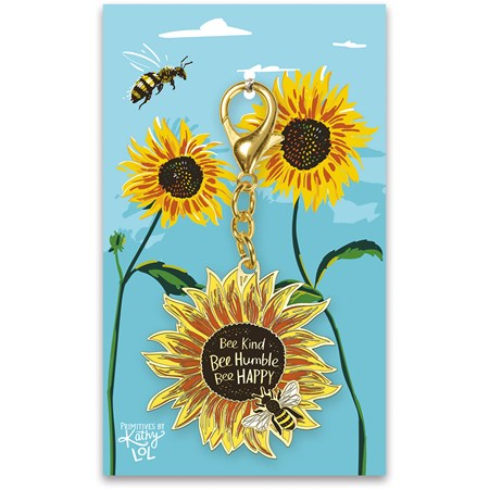 "Keychain - Bee Kind - 2"" x 3.50"", Card: 3"" x 5"" - Metal, Enamel, Paper"