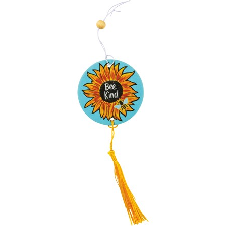 "Air Freshener - Bee Kind - 2.75"" x 5"", Card: 3"" x 6.25"" - Paper, String, Wood"