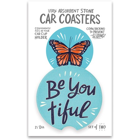 "Car Coasters - Be You Tiful - 2.50"" Diameter x 0.25"" - Stone, Cork"