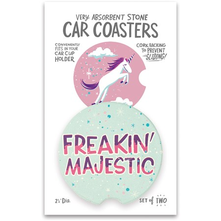 "Car Coasters - Freakin' Majestic - 2.50"" Diameter x 0.25"" - Stone, Cork"