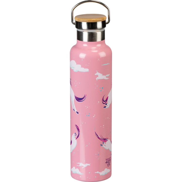 "Insulated Bottle - Always Be A Unicorn - 25 oz., 2.75"" Diameter x 11.25"" - Stainless Steel, Bamboo"