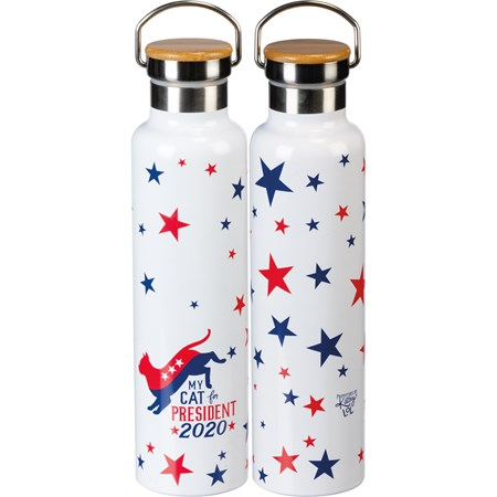 "Insulated Bottle - My Cat For President 2020 - 25 oz., 2.75"" Diameter x 11.25"" - Stainless Steel, Bamboo"