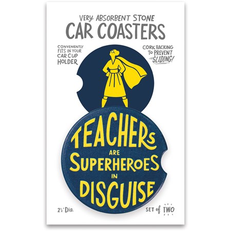 "Car Coasters - Teachers Are Superheroes - 2.50"" Diameter x 0.25"" - Stone, Cork"