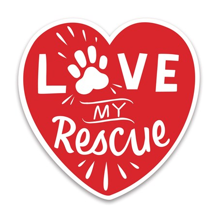 "Car Magnet - Love My Rescue - 5"" x 5"" - Magnet"