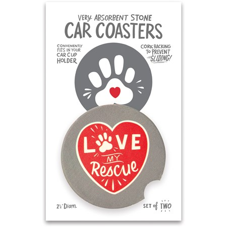 "Car Coasters - Love My Rescue - 2.50"" Diameter x 0.25"" - Stone, Cork"