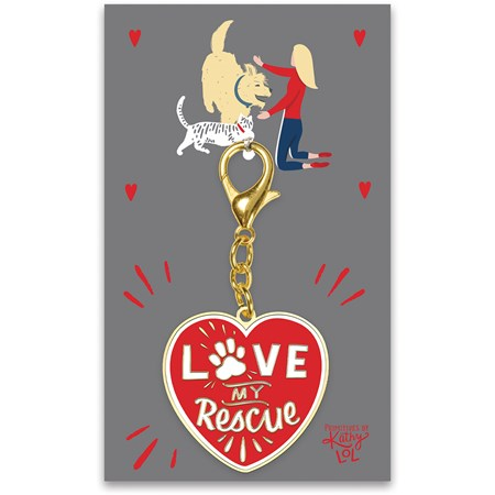 "Keychain - Love My Rescue - 1.75"" x 3.25"", Card: 3"" x 5"" - Metal, Enamel, Paper"