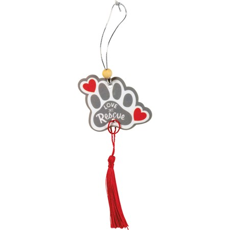 "Air Freshener - Love My Rescue - 2.75"" x 5"", Card: 3"" x 6.25"" - Paper, String, Wood"