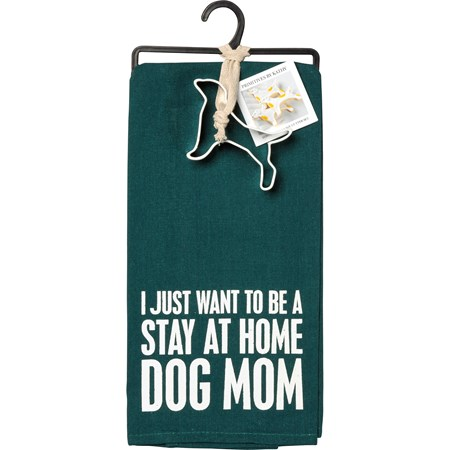 "Towel & Cutter Set - Stay At Home Dog Mom - Towel: 18"" x 28"", Cutter: 4"" x 2.75"" x 1"" - Cotton, Metal"