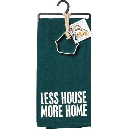 "Towel & Cutter Set - Less House More Home - Towel: 18"" x 28"", Cutter: 3"" x 3.25"" x 1"" - Cotton, Metal"