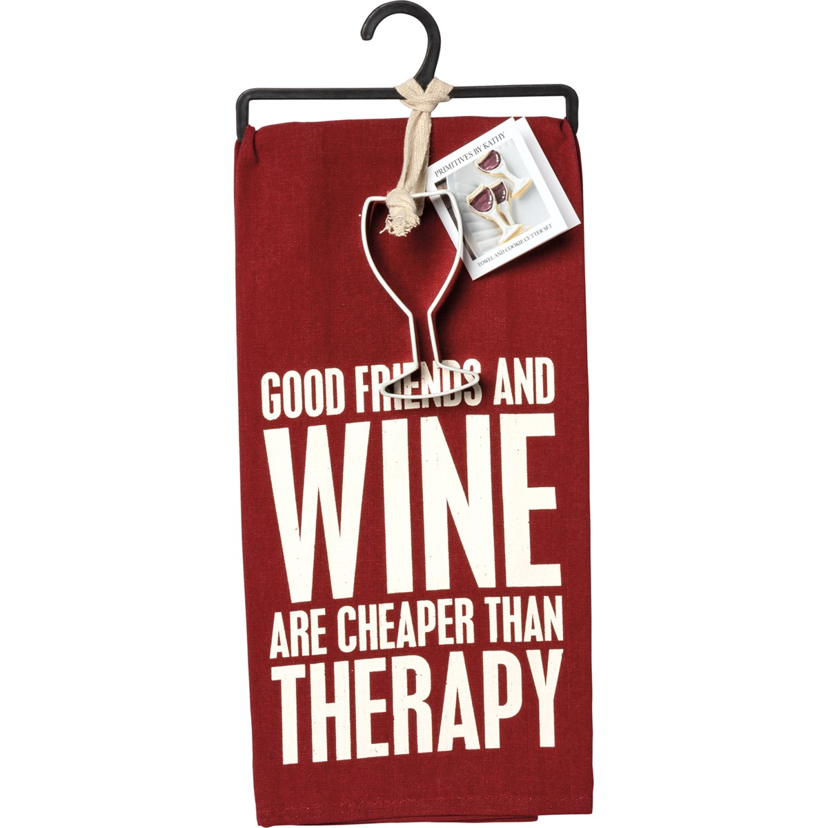 "Towel & Cutter Set - Good Friends And Wine - Towel: 18"" x 28"", Cutter: 2"" x 4"" x 1"" - Cotton, Metal"