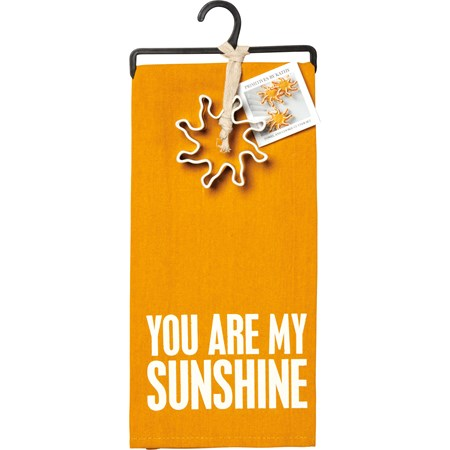 "Towel & Cutter Set - You Are My Sunshine - Towel: 18"" x 28"", Cutter: 3.50"" x 3.50"" x 1"" - Cotton, Metal"