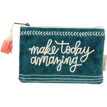 "Zipper Pouch - Make Today Amazing - 9.75"" x 6.50"" - Velvet, Metal"