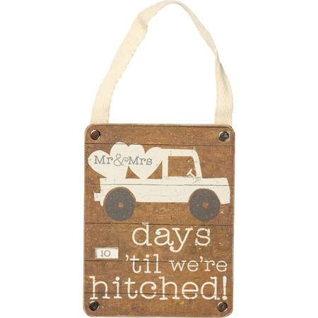 "Sm Countdown Wheel - Days 'Til We're Hitched - 3.50"" x 4.50"" x 0.25"" - Wood, Paper, Fabric"