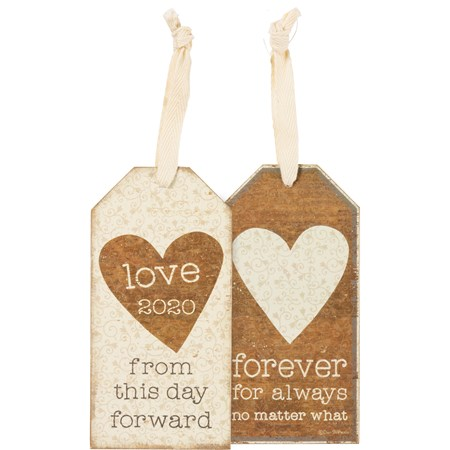 "Bottle Tag - Love 2020 From This Day Forward - 3"" x 6"" - Wood, Paper, Fabric"