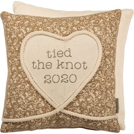 "Pillow - Tied The Knot 2020 - 16"" x 16"" - Burlap, Polyester, Rope"
