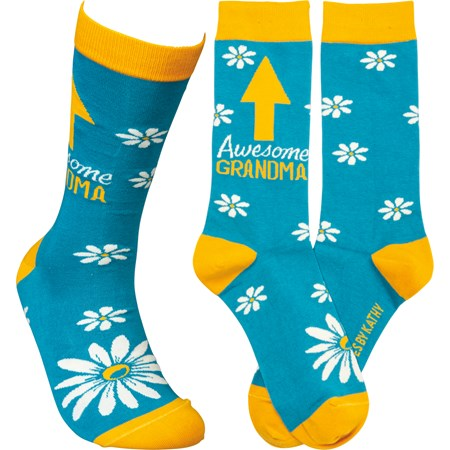 Socks - Awesome Grandma - One Size Fits Most - Cotton, Nylon, Spandex