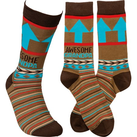 Socks - Awesome Grandpa - One Size Fits Most - Cotton, Nylon, Spandex