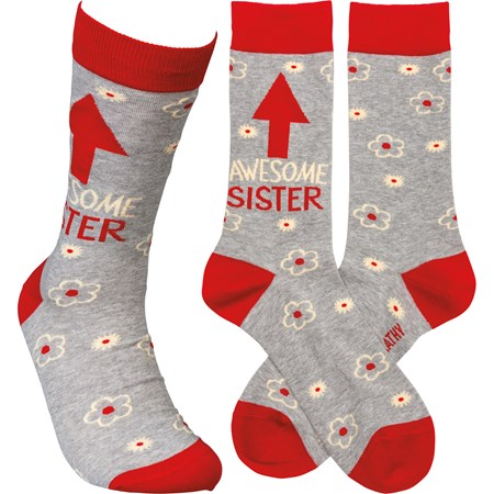 Socks - Awesome Sister - One Size Fits Most - Cotton, Nylon, Spandex