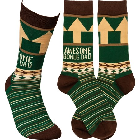 Socks - Awesome Bonus Dad - One Size Fits Most - Cotton, Nylon, Spandex