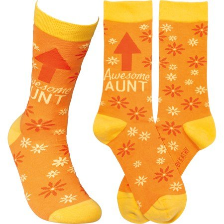 Socks - Awesome Aunt - One Size Fits Most - Cotton, Nylon, Spandex