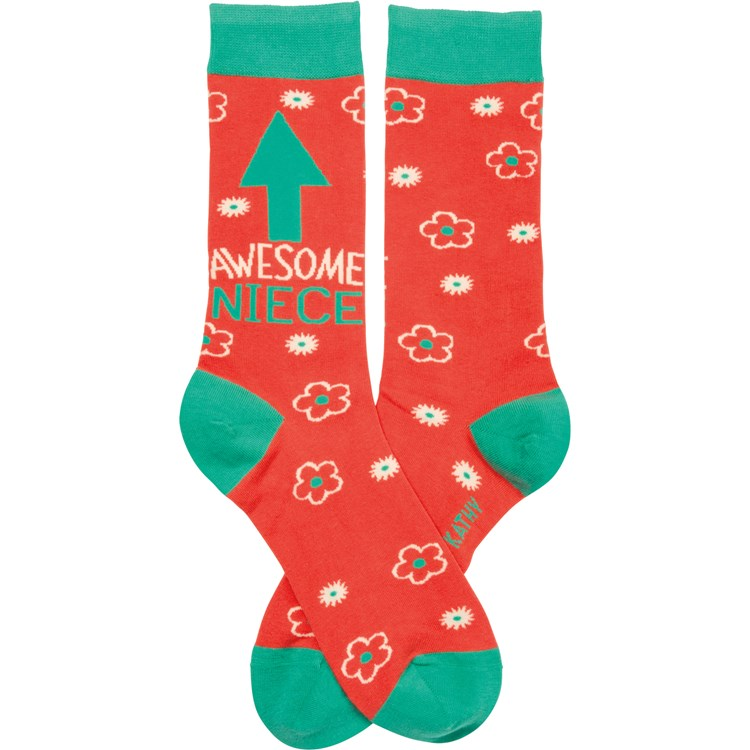 Socks - Awesome Niece - One Size Fits Most - Cotton, Nylon, Spandex