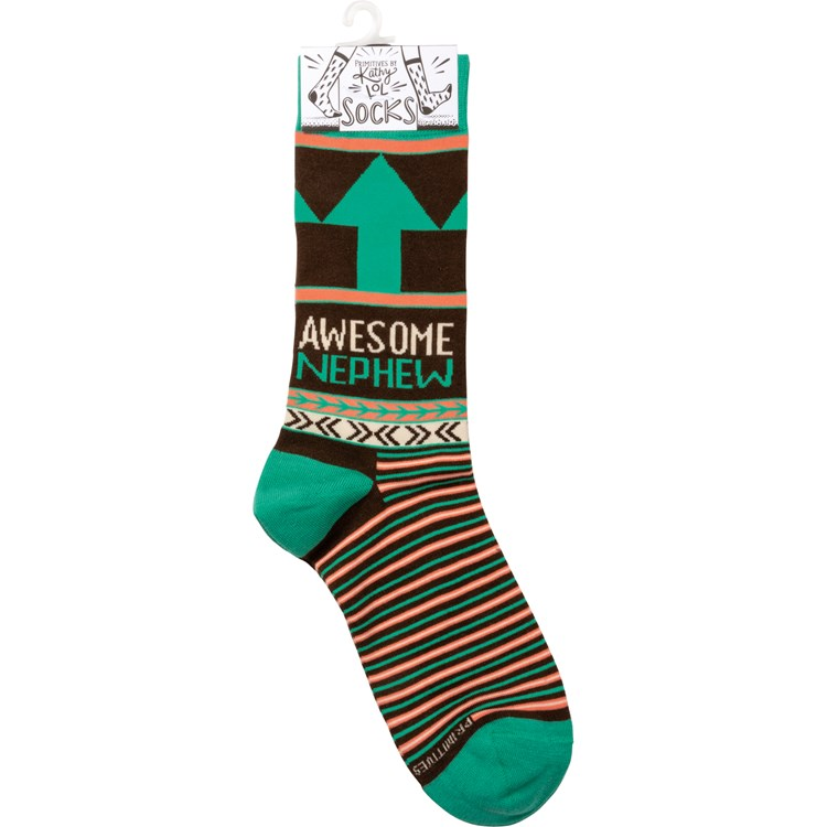 Socks - Awesome Nephew - One Size Fits Most - Cotton, Nylon, Spandex