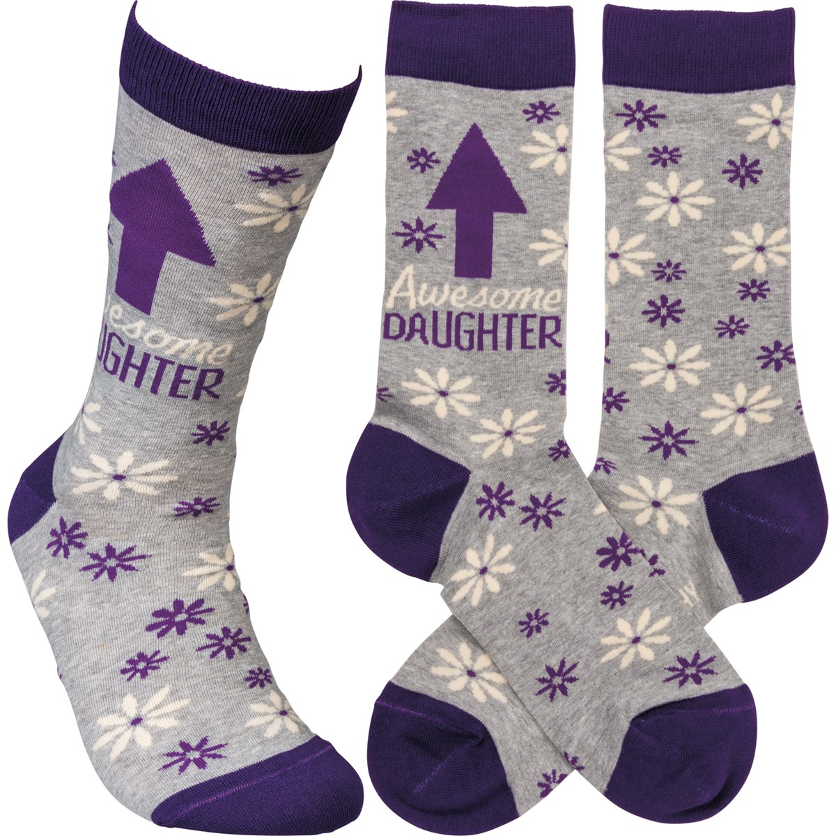 Socks - Awesome Daughter - One Size Fits Most - Cotton, Nylon, Spandex